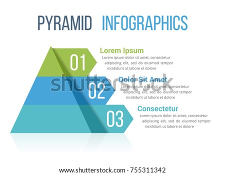 pyramid infographic template four elements vector のベクター画像