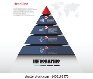 Pyramid infographic template with four elements,for business presentstion. vector design. eps.10