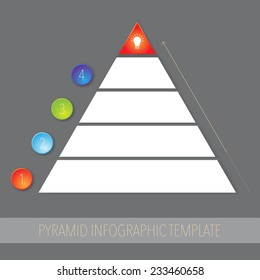 Pyramid infographic template with four steps in simple modern design.