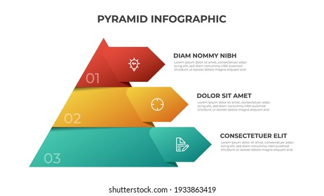 Pyramid infographic template vector with 3 list, options, levels diagram. Layout element for presentation, banner, brochure, etc.