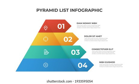 Pyramid infographic template vector with 4 list, layers, options, steps. Layout element for presentation, report, banner, etc.