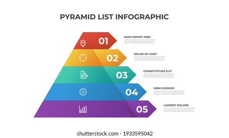 Pyramid infographic template vector with 5 list, layers, options, steps. Layout element for presentation, report, banner, etc.