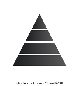 Pyramid infographic. Triangle chart, diagram, scheme, graph with four steps, options, parts, processes. Business strategy, success. Vector illustration isolated on white background.