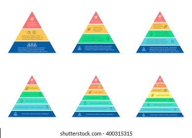 Pyramid infographic. Triangle chart, diagram, scheme, graph with 3, 4, 5, 6, 7, 8 steps, options, parts, processes. Business strategy, success. Vector design element.