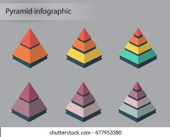 Pyramid infographic. Triangle chart, diagram, scheme, graph with 2,3,4  steps, options, parts, processes. Business strategy, success. Vector design element.