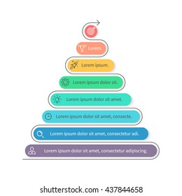 Pyramid for infographics. Business diagram, chart with 8 steps, levels. Vector design element.