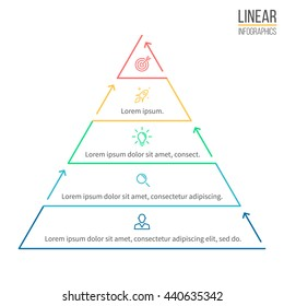 Pyramid for infographics. Linear diagram, chart with 5 steps, levels. Vector element.