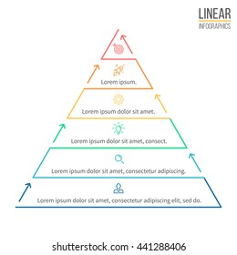 Pyramid for infographics. Linear diagram, chart with 6 steps, levels. Vector element.