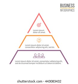 Pyramid for infographics. Minimalistic diagram, chart with 3 steps, levels. Vector design element.