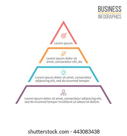 Pyramid for infographics. Minimalistic diagram, chart with 4 steps, levels. Vector design element.