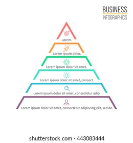 Pyramid for infographics. Minimalistic diagram, chart with 6 steps, levels. Vector design element.