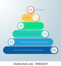 Pyramid for infographics with number options. Diagram, chart with 6 steps, parts, processes. Vector design element.