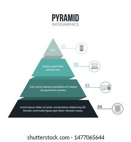 Pyramid Infographics template with 4 options and charts. Vector eps10 illustration.
