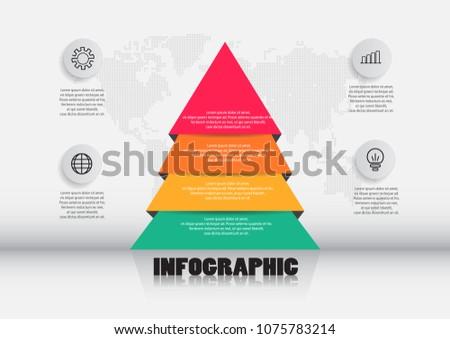 pyramid infographics template business presentation four stock