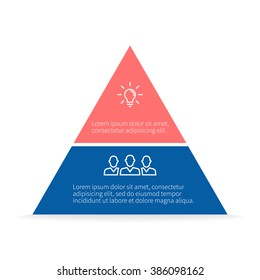 Pyramid Infographics. Triangle diagram, chart with 2 steps, options, parts, processes.