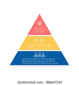 Pyramid Infographics. Triangle diagram, chart with 3 steps, options, parts, processes.