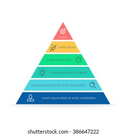 Pyramid Infographics. Triangle diagram, chart with 6 steps, options, parts, processes.
