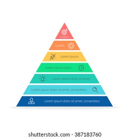 Pyramid Infographics. Triangle diagram, chart with 7 steps, options, parts, processes.