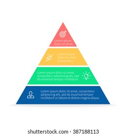 Pyramid Infographics. Triangle diagram, chart with 4 parts.