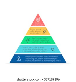Pyramid Infographics. Triangle diagram, chart with 5 steps.