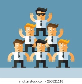 pyramid investment scheme. Business flat vector illustration.
