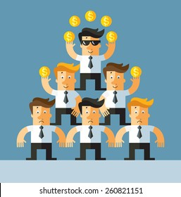 pyramid investment scheme. Business flat vector illustration.