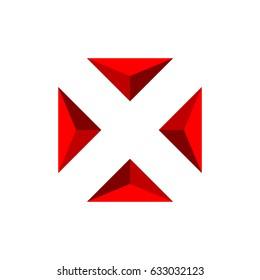 Pyramid Letter X Logo