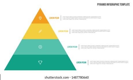 Pyramid list infographic template vector with 4 points and icons. Use to show proportional, interconnected, or hierarchical relationships. Use for presentation slide, banner, brochure, flyer.