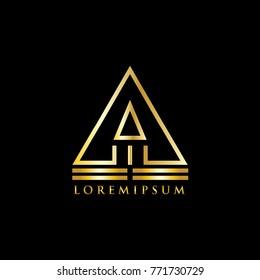 Pyramid Logo gold. luxury gold logo. Template vector illustration eps 10