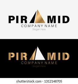Pyramid Logo Template vector illustration with gold. EPS 10 - Vector