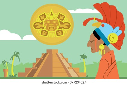 Pyramid Maya vector