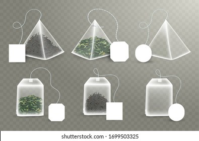 Pyramid and rectangular Shape Tea Bag Set. Mock Up With Empty Square, Rectangle Labels. Green and black tea. 3D Realistic Teabag Template. Vector Illustration