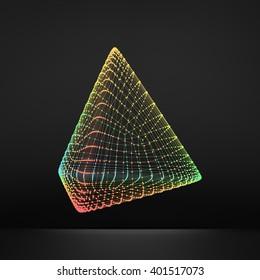 Pyramid. Regular Tetrahedron. Platonic Solid. Regular, Convex Polyhedron. 3D Connection Structure. Lattice Geometric Element for Design. Molecular Grid. Wireframe Mesh Polygonal Element.