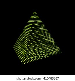 Pyramid. Regular Tetrahedron. Platonic Solid. 3D Technology Style.