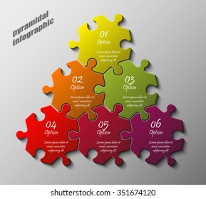 Pyramid Six piece flat puzzle round infographic presentation. 6 step circle business diagram. Six section compare service banner. Vector illustration template shape . 3d Abstract Background