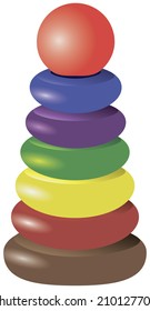 Pyramid stacking ring toy for children's creativity. Vector illustration.
