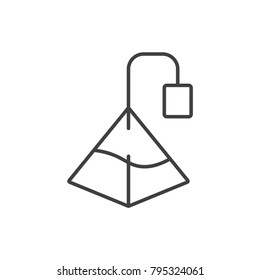 Pyramid tea bag line icon.