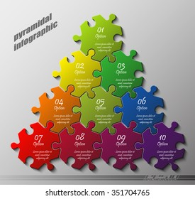 pyramid Ten piece flat puzzle round infographic presentation. 10 step circle business diagram. Ten section compare service banner. Vector illustration template shape . 3d Abstract Background