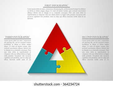 pyramid Three piece flat puzzle round infographic presentation. 3 step circle business diagram. Three section compare service banner. Vector illustration template shape . 3d Abstract Background
