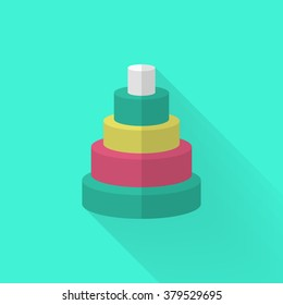 Pyramid toy icon , Vector flat long shadow design. Children's toys concept.