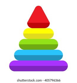 Pyramid toy isolated on white background. Vector illustration