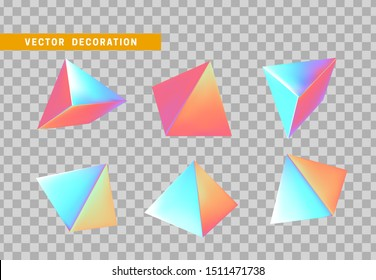 Pyramid volumetric. Set 3d holographic Geometric Shapes Objects. Realistic geometry elements on hologram color gradient. Render Decorative figure for design. vector illustration