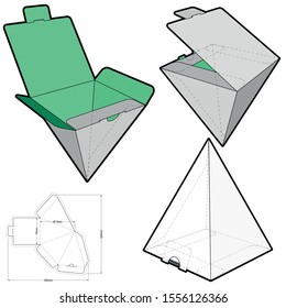 Pyramidal Box and Die-cut Pattern. The .eps file is full scale and fully functional. Prepared for real cardboard production. The .eps file is full scale and fully functional.
