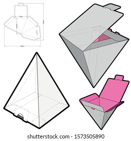 Pyramidal Box and Die-cut Pattern. The .eps file is full scale and fully functional. Prepared for real cardboard production.