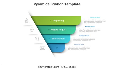Pyramidal diagram with four colorful paper ribbon elements. Concept of 4 business options to choose. Creative infographic design template. Realistic vector illustration for website menu, banner.