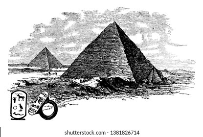 Pyramids  is a building, upper surfaces are triangular, converge on one point,  quadrilateral, trilateral, vintage line drawing or engraving illustration.