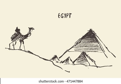 Pyramids in Cairo with caravan of camels, vintage engraved illustration, hand drawn