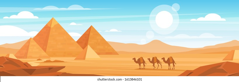 Pyramids in desert flat vector panoramic illustration. Egyptian landscape at daytime cartoon background. Camels caravan and Egypt landmarks scenery. African animals and sand dunes panorama.