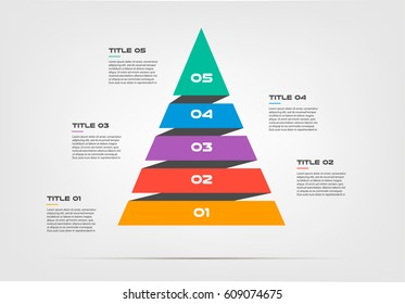 Pyramids infographic concept. Vector template with 5 options, parts, stages, buttons. Can be used for web, diagram, graph, presentation, chart, report, step by step infographics. Abstract background.
