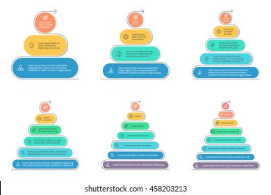 Pyramids for infographics. Business diagrams, charts with 3, 4, 5, 6, 7, 8 steps, levels. Vector design elements.